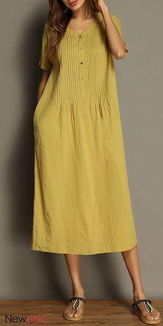 4f12d69f836 Vintage Pure Color V-neck Pocket Short Sleeve Women Dresses. Gracila brand  of . Fedorov Irina · Dress