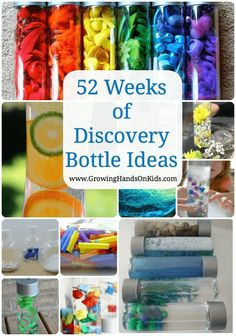 52 weeks of discovery bottle ideas for kids, 1 sensory bottle per week for a year. Fun, hands-on learning for babies, toddlers, and preschoolers.
