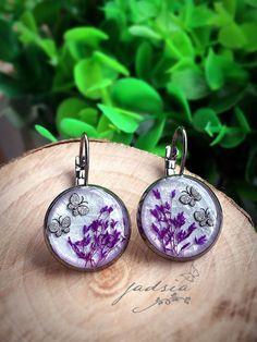 Sweet earrings,silver plated lever back earrings,purple dried flower,butterfly-glitter earrings,resin jewelry,luxury earrings