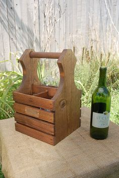 Personalized Wine Bottle Carrier - Handcrafted - Holds Four Standard Wine Bottles - Wood - Rustic