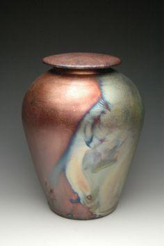 Handmade Raku pottery  urn