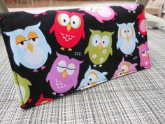 Handmade Fabric Checkbook Cover Mothers Gift  OWLS by Joanna1966,