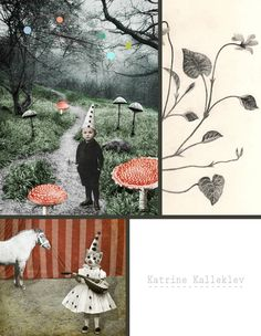 katrine kalleklev - collage with child and toadstools