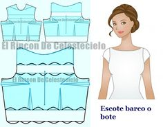 Escote barco, bote, ojal o bandeja Fes, Dress Patterns, Designer Dresses, Diy And Crafts, Couture, Sewing, Outfits, Saris, Clothes