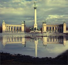 """Climbed these statues one night! Ah memories! """"Millennium Monument in Heroes' Square  Budapest"""""""
