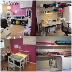 Sewing room organization.