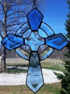 Stained Glass Beveled Celtic Cross - Sun Catcher - Blue