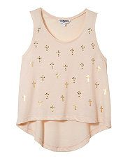 Shell Pink (Pink) Teens Peach Stud and Foil Cross Vest | 262407872 | New Look