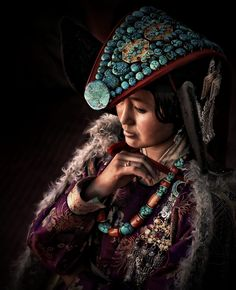 Tibetan Woman in national full dress Ladakh, India