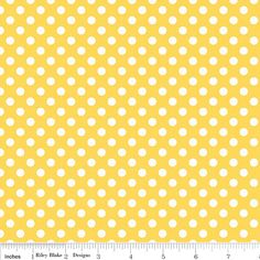 Riley Blake Fabric Polka Dot Dots Small 1/4 quarter inch size white on Yellow