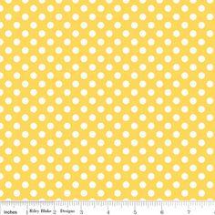 Riley Blake Fabric Polka Dot Dots Small 1/4 quarter inch size white on Yellow