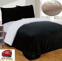 Comforter Full Queen Sherpa Plush Soft Warm Black Reversible Bed Throw Blanket  #ChezmoiCollection