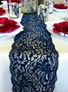 Navy Blue Vintage Lace / Lace Table Runner/Chair Sash/Per Yard on Etsy, $7.50.. just not blue