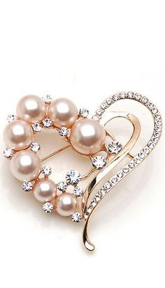 Pearl and Diamond Heart Shaped Brooch Set In Rose Gold
