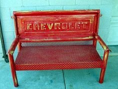 Vintage Red Painted Furniture - need welding skills! Use old truck tailgate & other salvaged metal parts to create vintage bench! Red Painted Furniture, Diy Furniture, Handmade Furniture, Furniture Design, Garage Furniture, Cardboard Furniture, Furniture Vintage, Upcycled Furniture, Modern Furniture