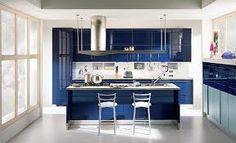 hermosa cocina en color azul para alegrarte