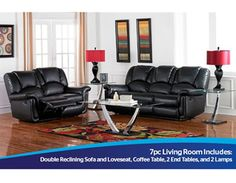 Recline in Comfort with this black living room collection from Amalfi