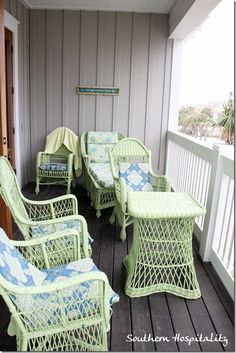 pretty shade of green on this painted wicker furniture