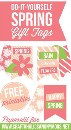 Free Printable Spring Gift Tags || Perfect colors. Love the raindrops and flowers!