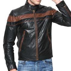 Bareskin black colour genuine leather moto jacket for men Black Leather Biker Jacket, Lambskin Leather Jacket, Leather Case, Real Leather, Best Leather Jackets, Leather Jackets Online, Riders Jacket, Stylish Jackets, Latest Mens Fashion