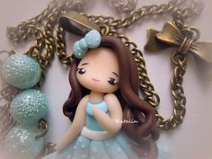 She is entirely handmade with polymer clay (FIMO). The chibi measures 6 cm, while the necklace 55 cm. Made by Katalin Handmade (2013)