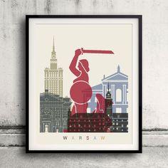 Warsaw skyline poster  Fine Art Print Glicee Poster by Paulrommer