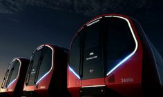 """A new London Underground tube train """"inspired by contemporary London"""" is being created, with designs by PriestmanGoode and Transport for London. Rail Transport, London Transport, Waterloo City, London Underground Train, Tube Train, U Bahn, Futuristic Cars, Futuristic Vehicles, Futuristic Design"""