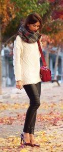#fall #fashion / leather + tartan scarf + white knit