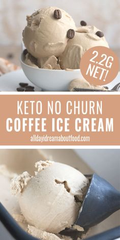Keto Coffee Ice Cream – No Churn Recipe No ice cream maker? No problem! This is the richest, creamiest keto coffee ice cream and it stays scoopable straight out of the freezer for days! Low Carb Sweets, Low Carb Desserts, Keto Eis, Keto Recipes, Dessert Recipes, Sweet Recipes, Low Carb Backen, Low Carb Ice Cream, Healthy Ice Cream