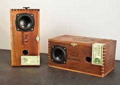 Custom Cigar Box Amplified Speakers at: http://www.etsy.com/listing/82210120/custom-cigar-box-amplified-speakers