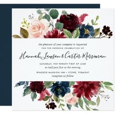 #Radiant Bloom Floral Wedding Invitation | Square - #weddinginvitations #wedding #invitations #party #card #cards #invitation #watercolor