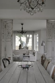 Love this Scandinavian-French look! Especially the vintage shutters. Such beauties.
