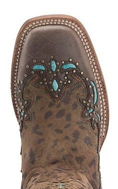Cinch Women's Cheetah Print with Brown & Turquoise Wingtip Square Toe Western Boots | Cavender's