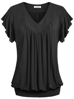 1dacd1a951fd6 Ninedaily Women Tops V-neck Ruffles Short Sleeve Pleated Kimono Tunic  Shirts at Amazon Women s