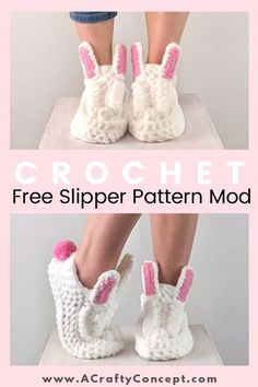 Crochet Bunny Slippers – Free Crochet Pattern Crochet Bunny Slippers – Free Crochet Pattern,Häkeln/crochet Easy free crochet pattern to crochet a cute pair of bunny slippers! These crochet bunny slippers are so cozy and. Easter Crochet, Cute Crochet, Easy Crochet Slippers, Crochet Baby Sandals, Crochet Cozy, Chunky Crochet, Crochet Beanie, Crochet Dolls, Crochet Slipper Boots