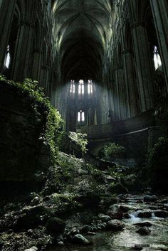 A famous spot in France, St Etienne abandoned church. I love abandoned buildings that nature has taken over. Abandoned Buildings, Abandoned Castles, Abandoned Mansions, Old Buildings, Abandoned Places In London, Abandoned Library, Abandoned Malls, Abandoned Warehouse, Abandoned Train