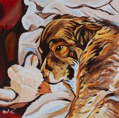 """happy dog 20x20"""" oil on canvas by dragoslav milic"""