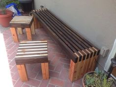 Diy Outdoor Bench Built In Furniture Projects, Furniture Plans, Garden Furniture, Wood Projects, Furniture Stores, Modern Furniture, Diy Wood Bench, Diy Terrasse, Outdoor Tables