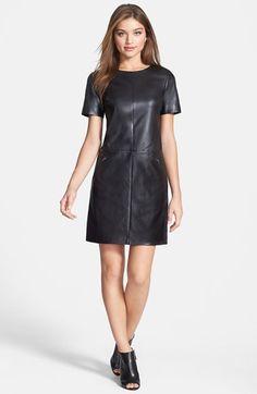 Halogen® Leather & Ponte Knit Shift Dress (Regular & Petite)   Nordstrom Black Leather Shift Dress- Top Pick for Fall 2014 Fashion Trends. #Halogen #Leatherdress #Nordstrom @nordstrom