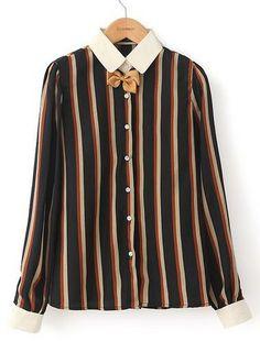 England Preppy Style Stripe Long Sleeve Blouses