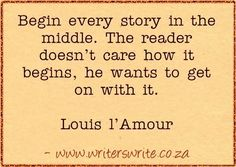 Writing Quote – Louis L'AmourIf you enjoyed this quote, read Five guaranteed ways to bore your reader The Importance of Inciting MomentsBasic Plot Structure - The Five Plotting Moments That Matter