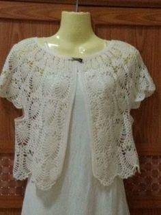 crochelinhasagulhas: Bolero branco circular em crochê