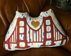 Handmade home decor pillows and accessories. by OodleBaDoodle San Francisco Design, Unicorn Pillow, California Bear, Decorative Pillows, Decor Pillows, Handmade Home Decor, Golden Gate Bridge, Diaper Bag, Buy And Sell