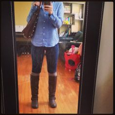 cute going to class outfit <3 #chambray #ridingboots