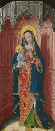 French (Picardy)  Panels from the High Altar of the Charterhouse of Saint-Honoré, Thuison-les-Abbeville: Virgin and Child, 1490/1500  Oil on panel 46 3/16 x 20 in. (117.3 x 50.8 cm); painted surface: 45 11/16 x 19 1/2 in. (116 x 49.5 cm)
