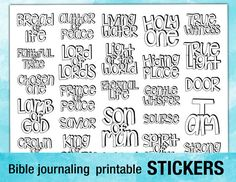 Printable Stickers For Bible Journaling Verse Art Illustrated Faith Clipart Scripture Stencils
