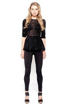Donna Mizani Leopard Darling Sleeve Peplum Top in Black