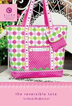 PDF Download of Reversible Tote Bag Sewing Pattern by EllenMedlock, $11.99