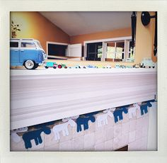Moose banner for a baby boys' shower - blue & white felt (decorated mantle with vintage toy cars) My Sister, Baby Boy Shower, Mantle, Vintage Toys, Toy Chest, Storage Chest, Sisters, Parenting, Diy Projects