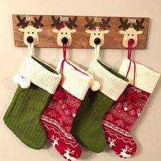 "Christmas stocking hanger - Wooden reindeer stocking hanger (24""x5.5""x.5"")"